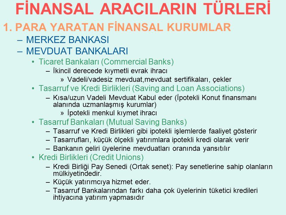 FİNANSAL ARACILARIN TÜRLERİ