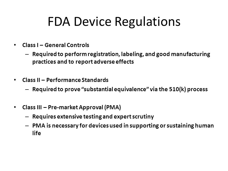FDA Device Regulations