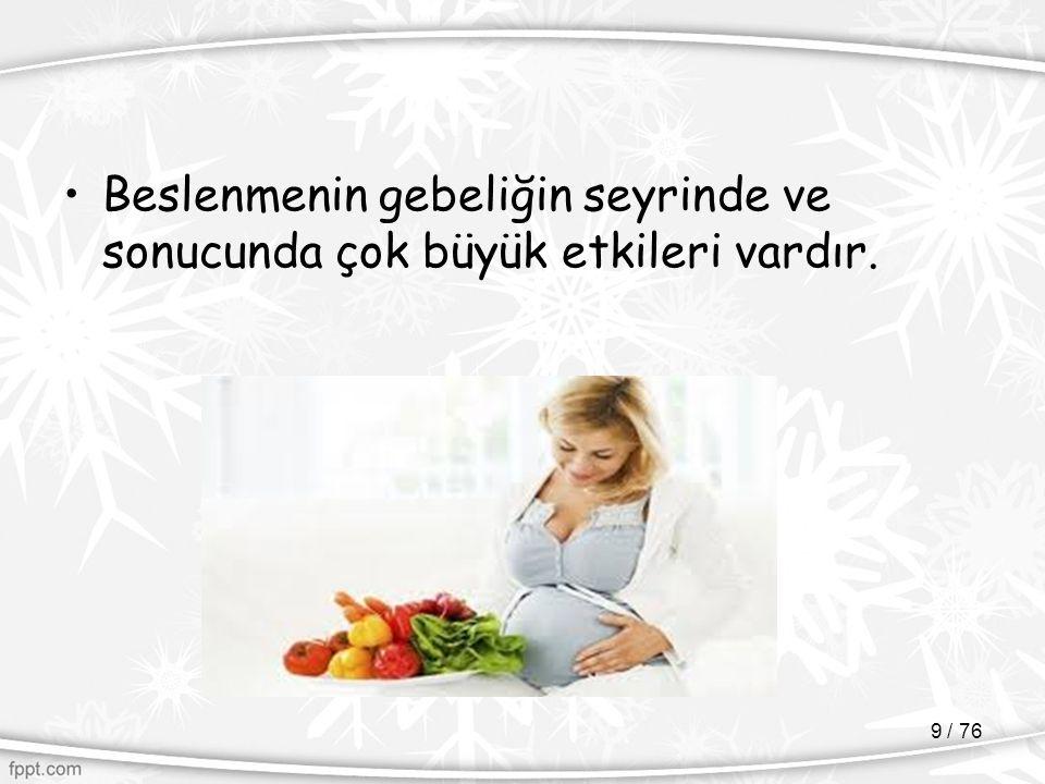 Beslenmenin gebeliğin seyrinde ve sonucunda çok büyük etkileri vardır.