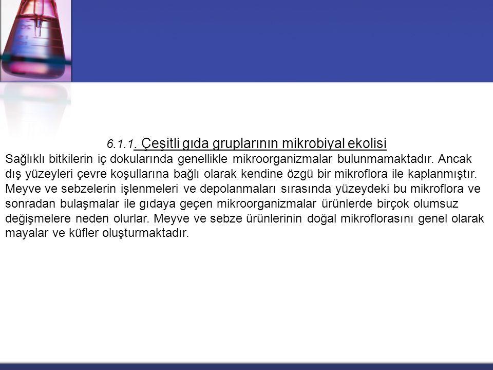 6.1.1. Çeşitli gıda gruplarının mikrobiyal ekolisi