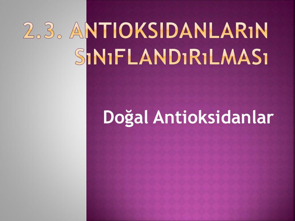 2.3. Antioksidanların Sınıflandırılması