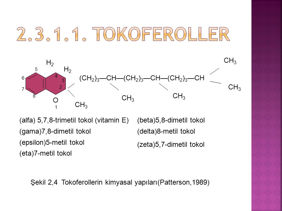 2.3.1.1. Tokoferoller CH3 H2 5 H2 4 6 (CH2)3—CH—(CH2)3—CH—(CH2)3—CH 3