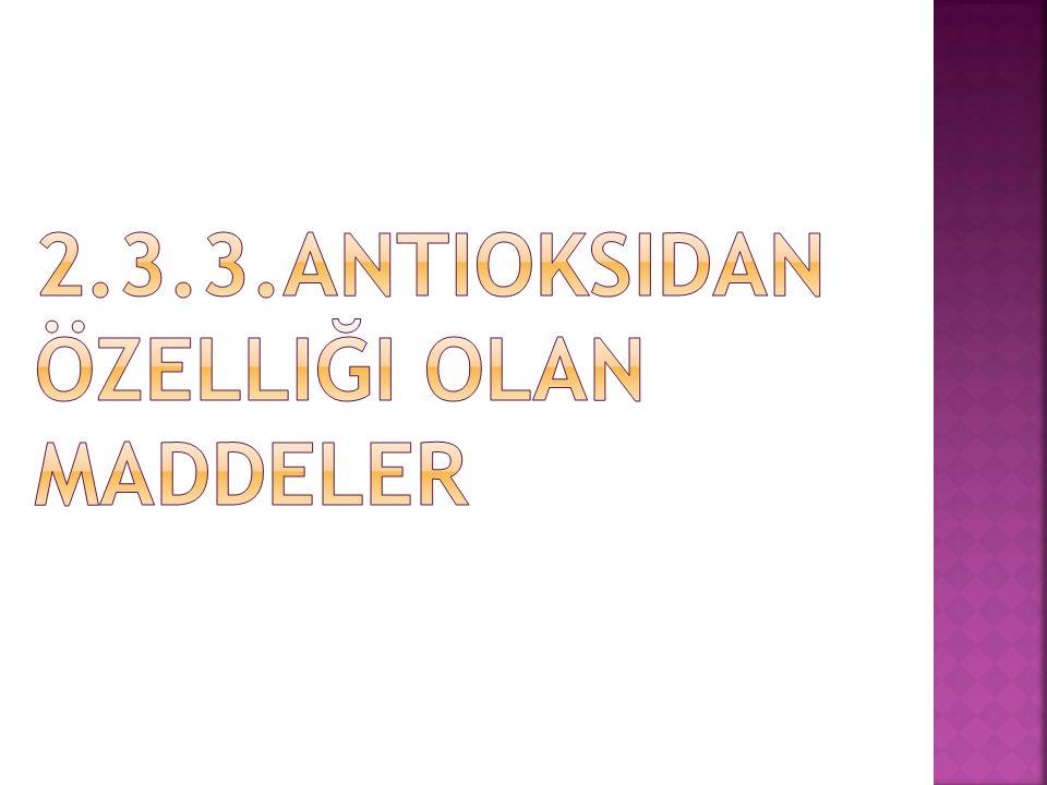 2.3.3.Antioksidan Özelliği Olan Maddeler