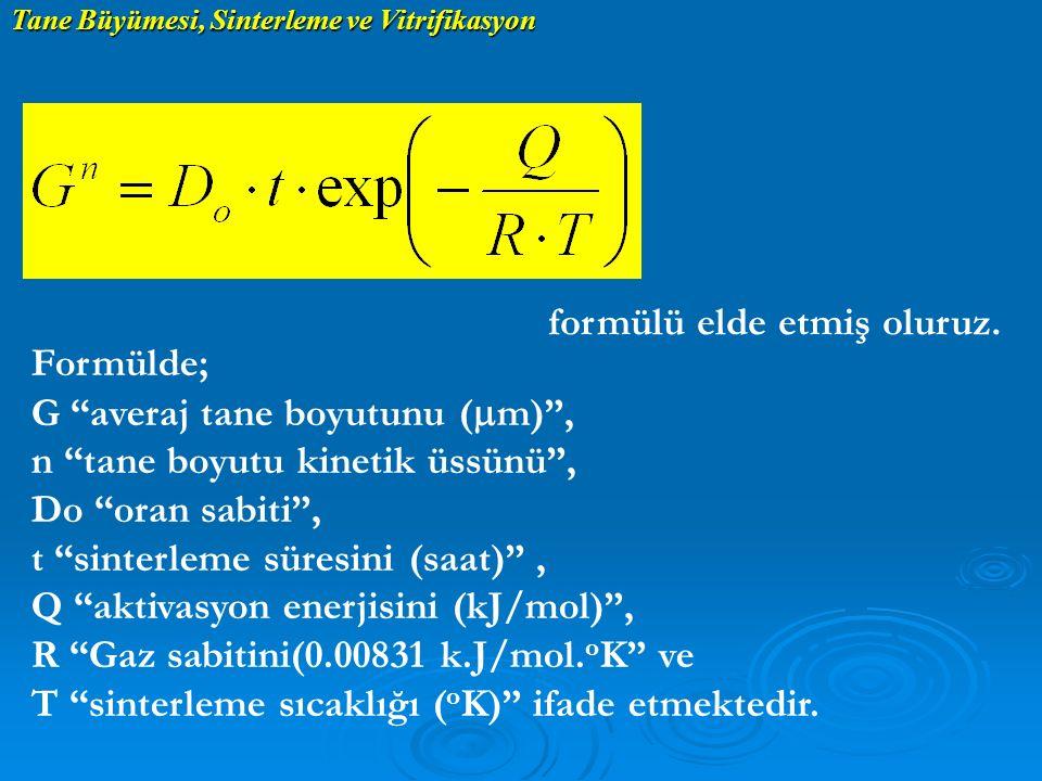 formülü elde etmiş oluruz. Formülde; G averaj tane boyutunu (mm) ,