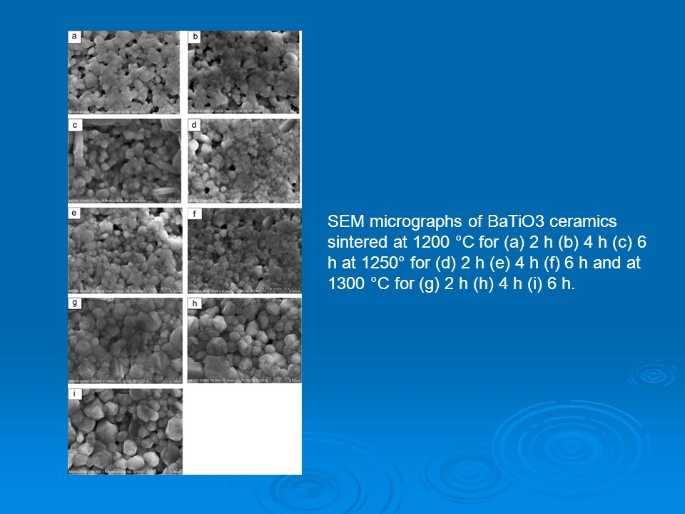 SEM micrographs of BaTiO3 ceramics sintered at 1200 °C for (a) 2 h (b) 4 h (c) 6 h at 1250° for (d) 2 h (e) 4 h (f) 6 h and at 1300 °C for (g) 2 h (h) 4 h (i) 6 h.