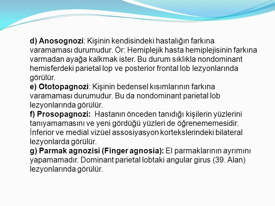 d) Anosognozi: Kişinin kendisindeki hastalığın farkına varamaması durumudur. Ör: Hemiplejik hasta hemiplejisinin farkına varmadan ayağa kalkmak ister. Bu durum sıklıkla nondominant hemisferdeki parietal lop ve posterior frontal lob lezyonlarında görülür.