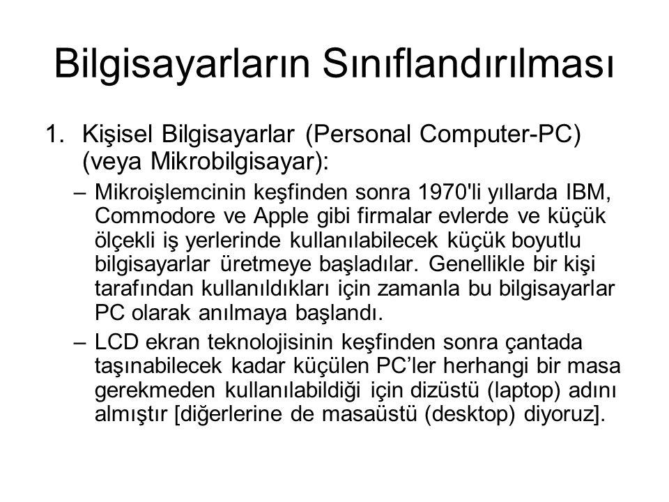 Bilgisayarların Sınıflandırılması