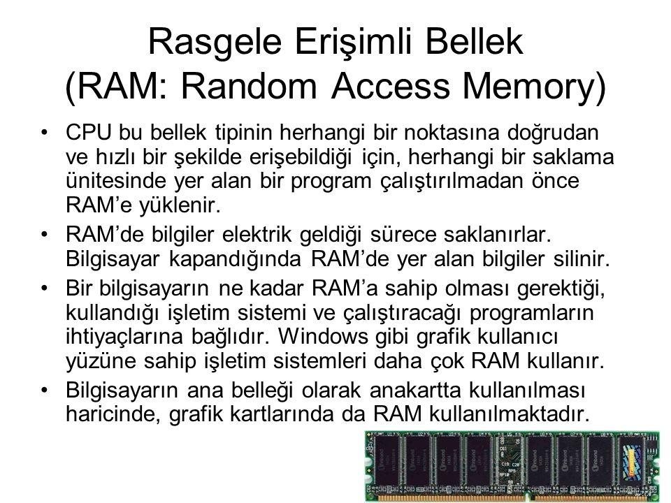 Rasgele Erişimli Bellek (RAM: Random Access Memory)