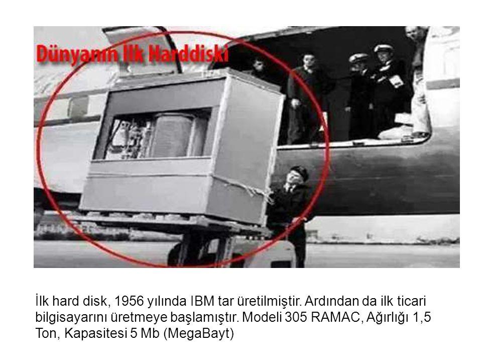 İlk hard disk, 1956 yılında IBM tar üretilmiştir