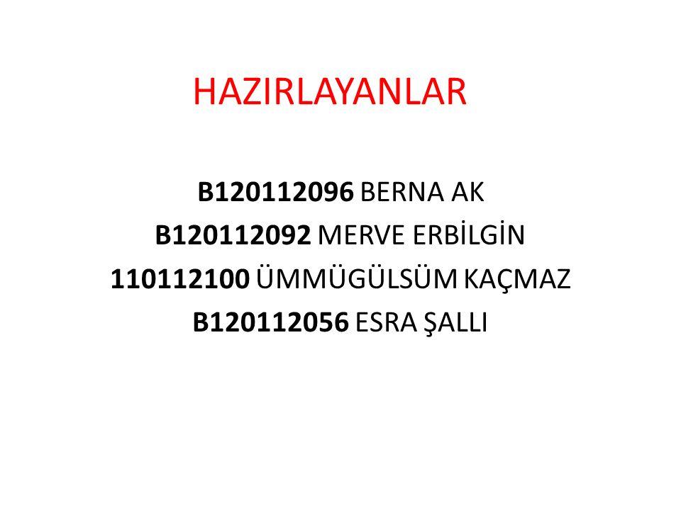 HAZIRLAYANLAR B120112096 BERNA AK B120112092 MERVE ERBİLGİN