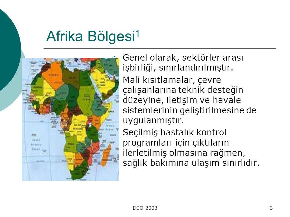 Afrika Bölgesi1 Genel olarak, sektörler arası işbirliği, sınırlandırılmıştır.