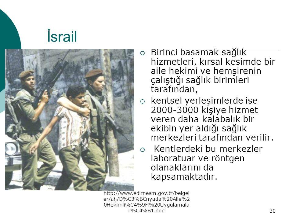 İsrail Birinci basamak sağlık hizmetleri, kırsal kesimde bir aile hekimi ve hemşirenin çalıştığı sağlık birimleri tarafından,