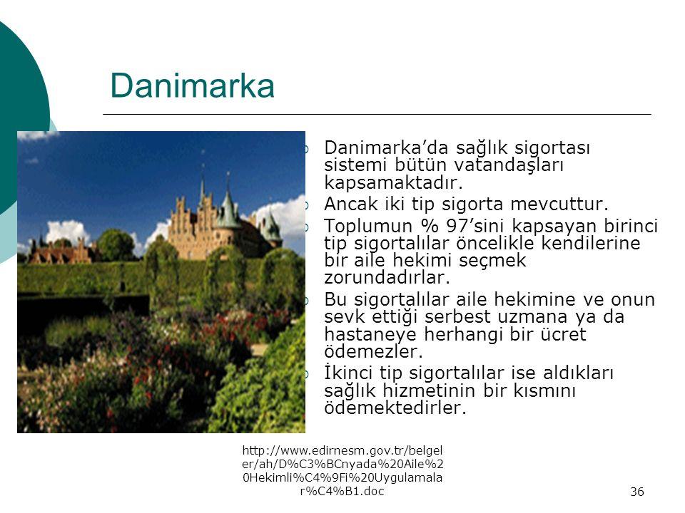 Danimarka Danimarka'da sağlık sigortası sistemi bütün vatandaşları kapsamaktadır. Ancak iki tip sigorta mevcuttur.