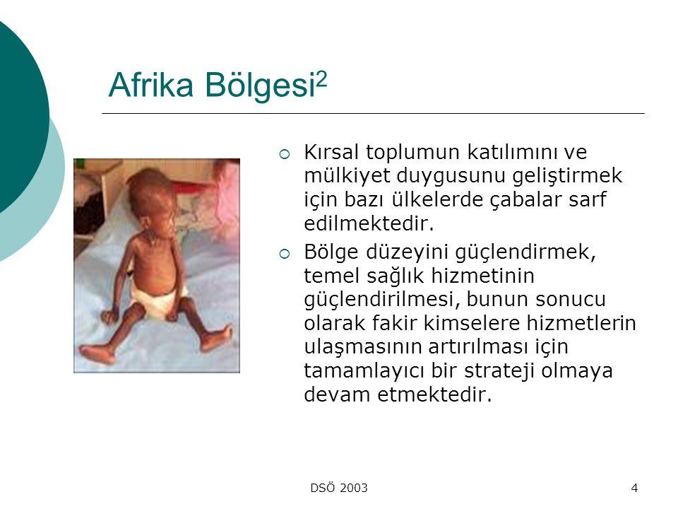 Afrika Bölgesi2 Kırsal toplumun katılımını ve mülkiyet duygusunu geliştirmek için bazı ülkelerde çabalar sarf edilmektedir.