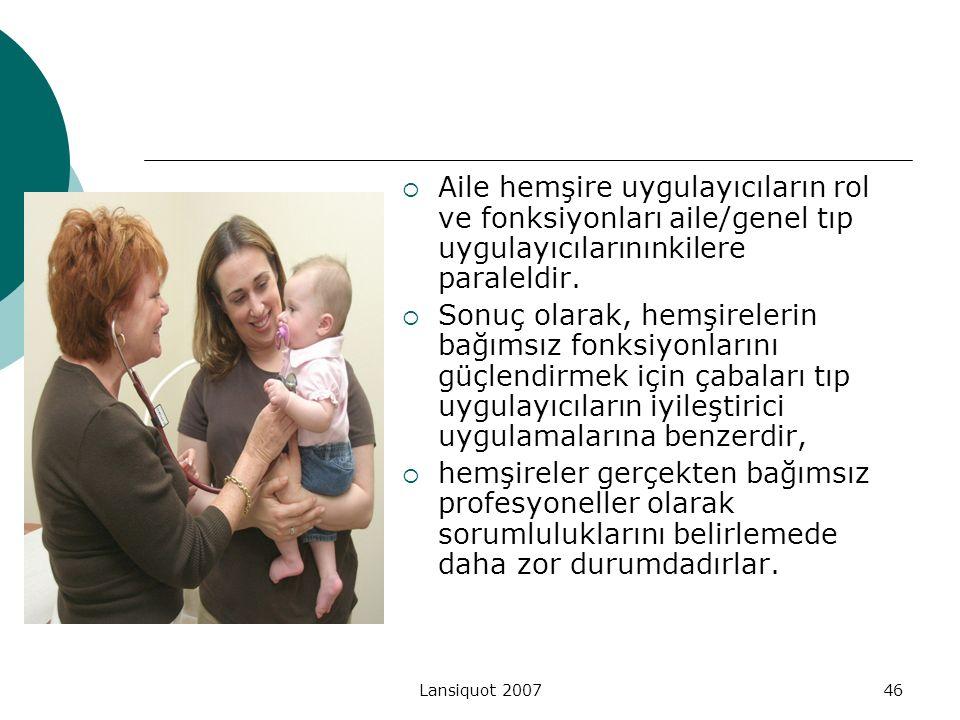Aile hemşire uygulayıcıların rol ve fonksiyonları aile/genel tıp uygulayıcılarınınkilere paraleldir.