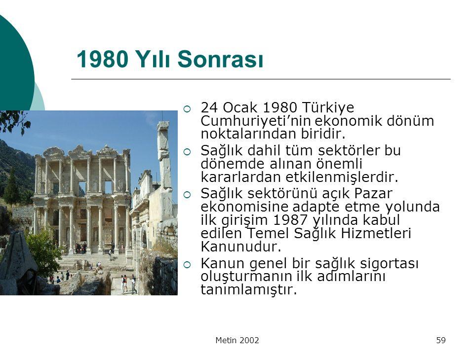 1980 Yılı Sonrası 24 Ocak 1980 Türkiye Cumhuriyeti'nin ekonomik dönüm noktalarından biridir.