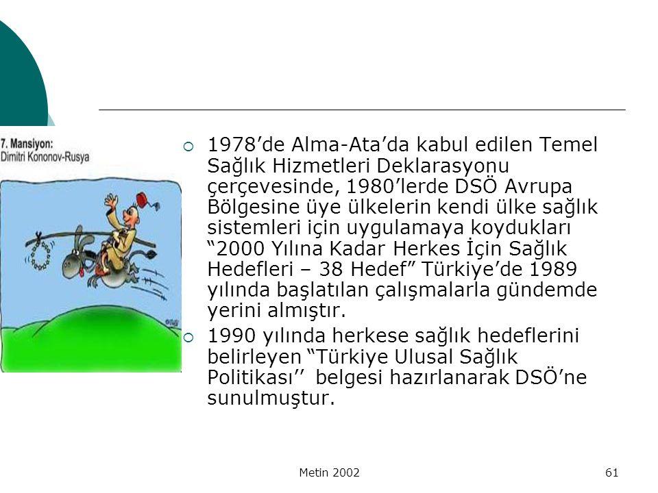 1978'de Alma-Ata'da kabul edilen Temel Sağlık Hizmetleri Deklarasyonu çerçevesinde, 1980'lerde DSÖ Avrupa Bölgesine üye ülkelerin kendi ülke sağlık sistemleri için uygulamaya koydukları 2000 Yılına Kadar Herkes İçin Sağlık Hedefleri – 38 Hedef Türkiye'de 1989 yılında başlatılan çalışmalarla gündemde yerini almıştır.