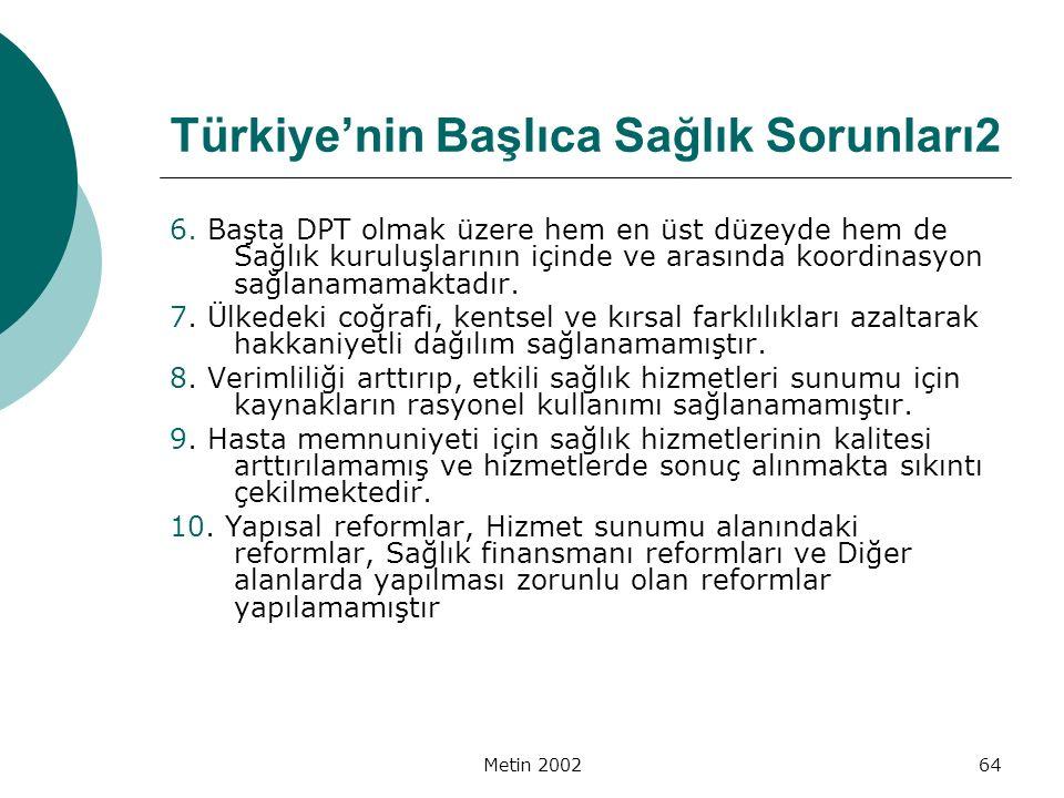 Türkiye'nin Başlıca Sağlık Sorunları2