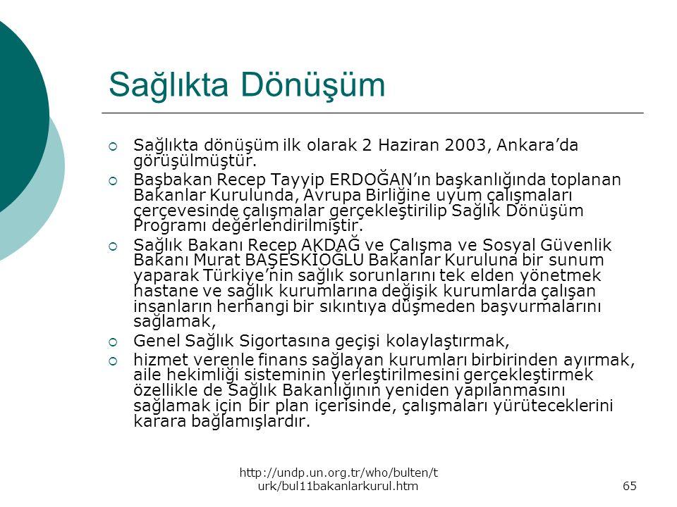 Sağlıkta Dönüşüm Sağlıkta dönüşüm ilk olarak 2 Haziran 2003, Ankara'da görüşülmüştür.