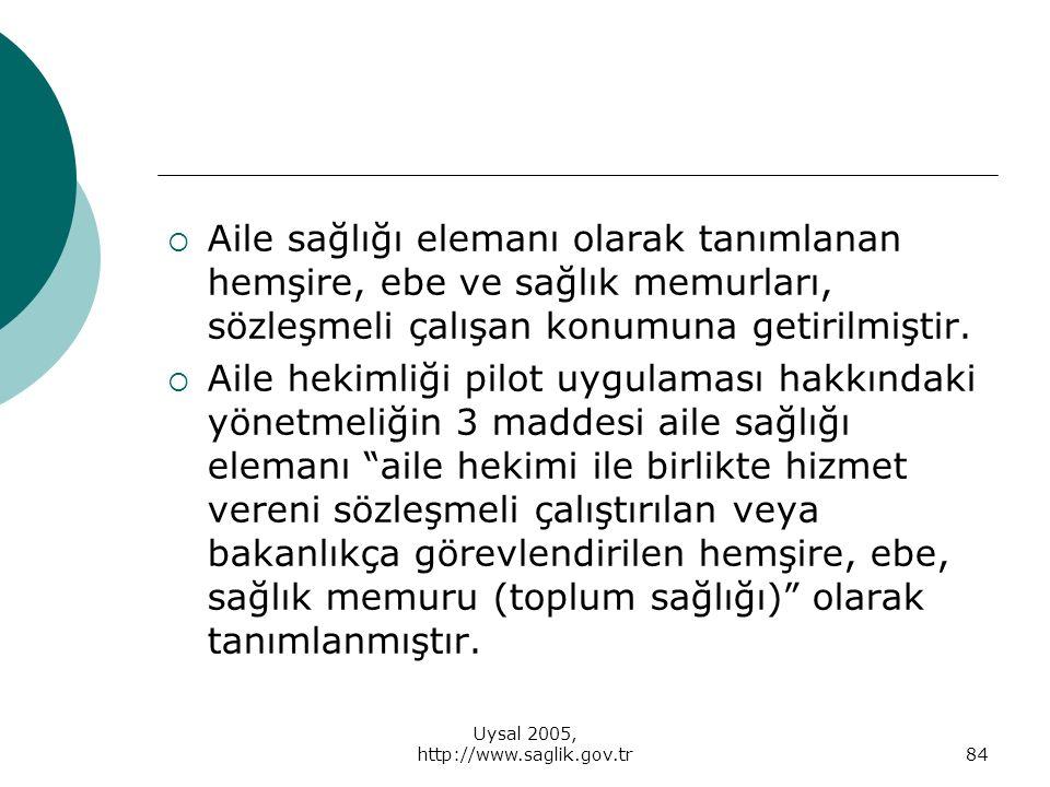 Uysal 2005, http://www.saglik.gov.tr
