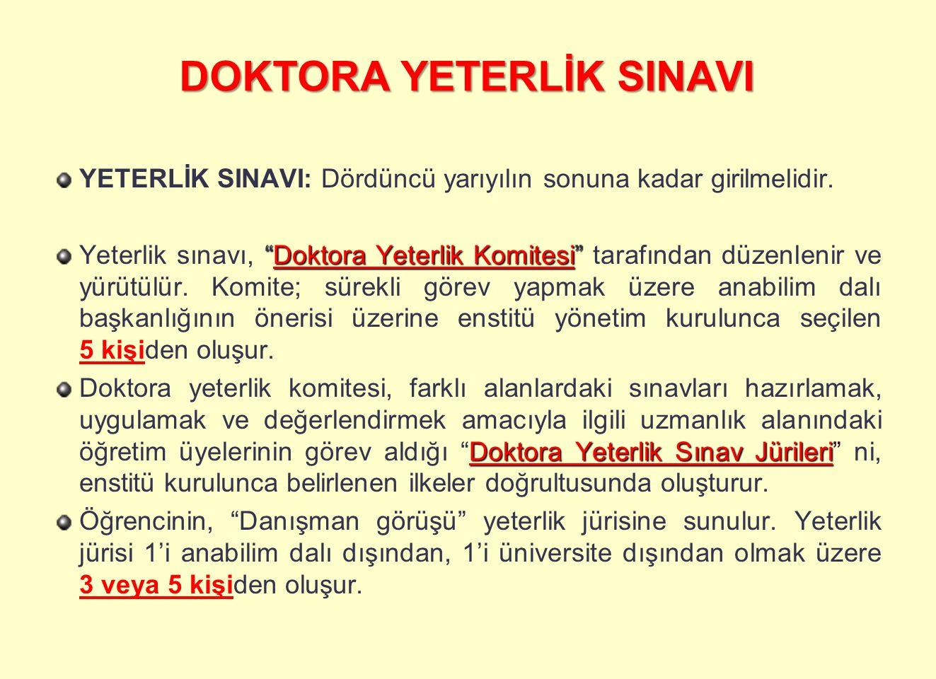 DOKTORA YETERLİK SINAVI