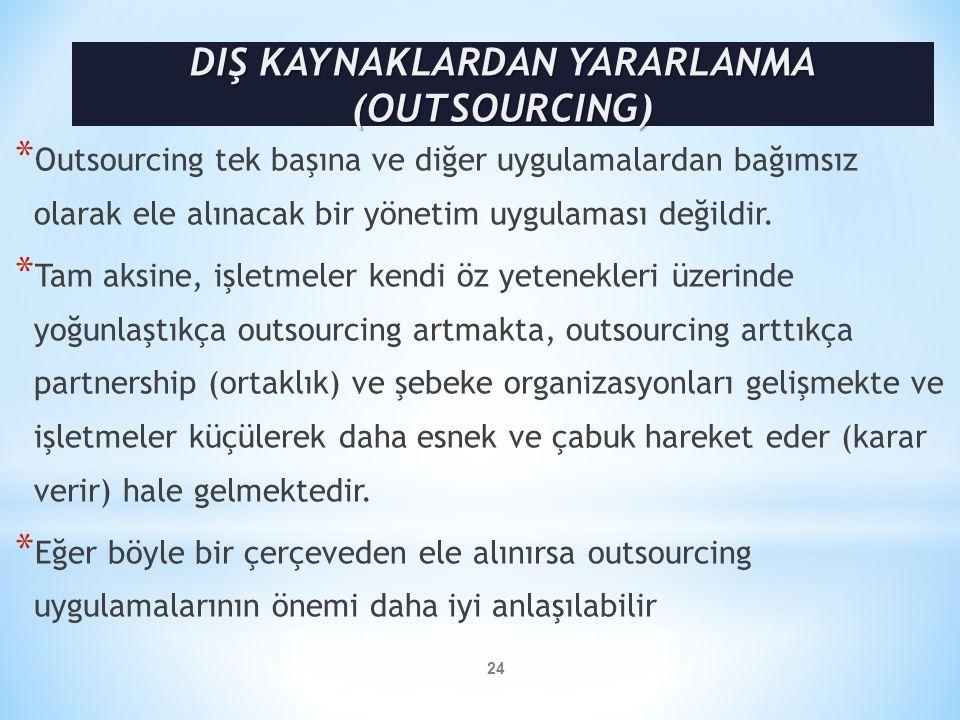 DIŞ KAYNAKLARDAN YARARLANMA (OUTSOURCING)