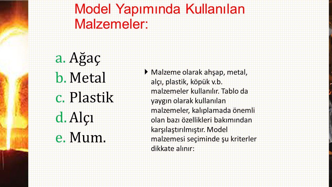 Model Yapımında Kullanılan Malzemeler: