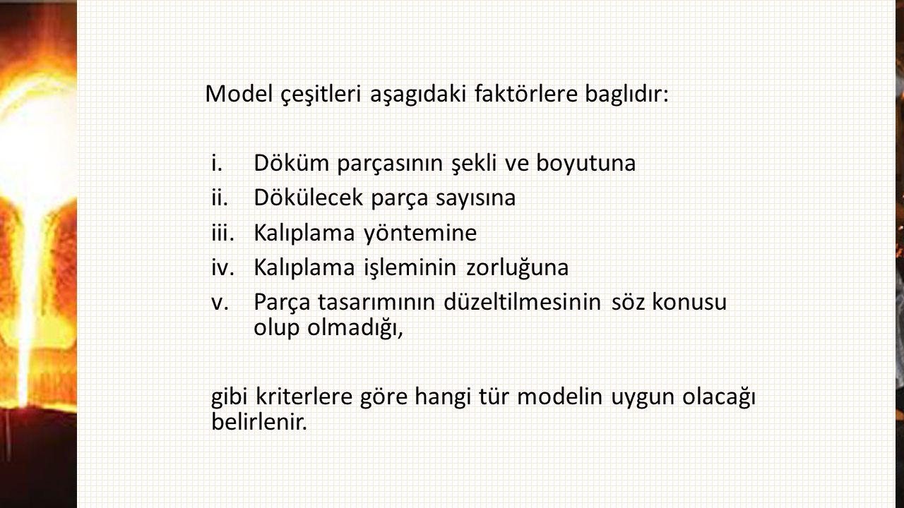 Model çeşitleri aşagıdaki faktörlere baglıdır: