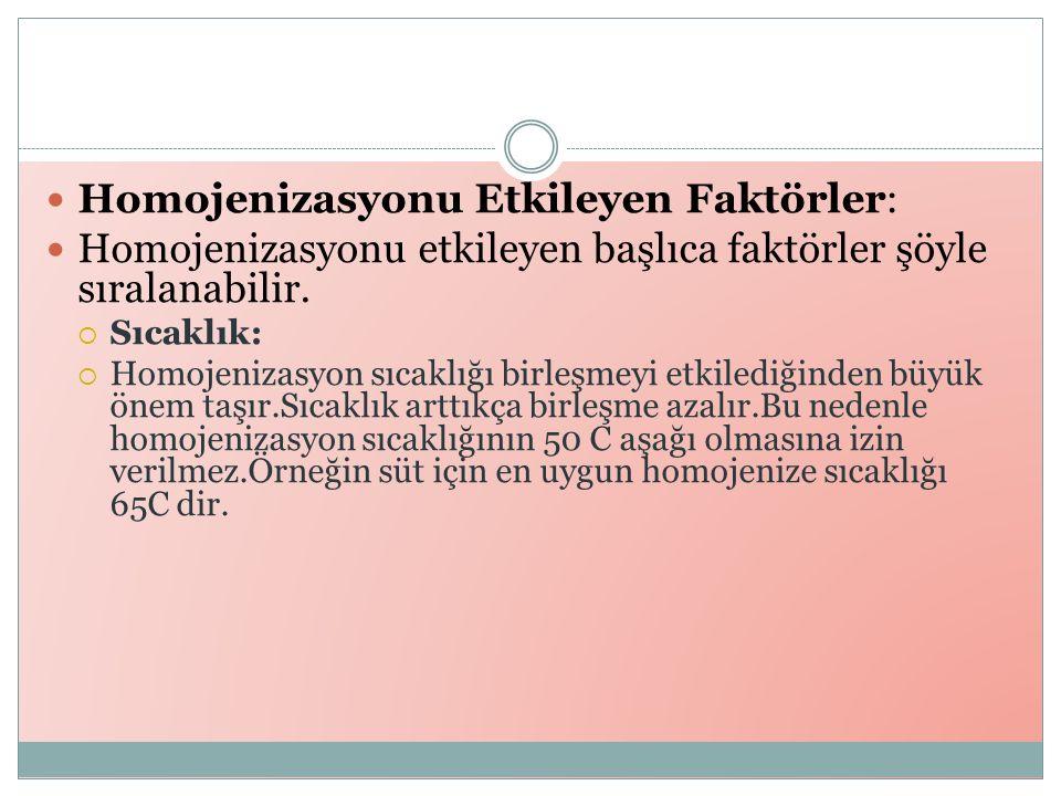 Homojenizasyonu Etkileyen Faktörler: