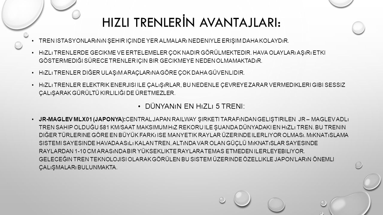HIZLI TRENLERİN AVANTAJLARI: