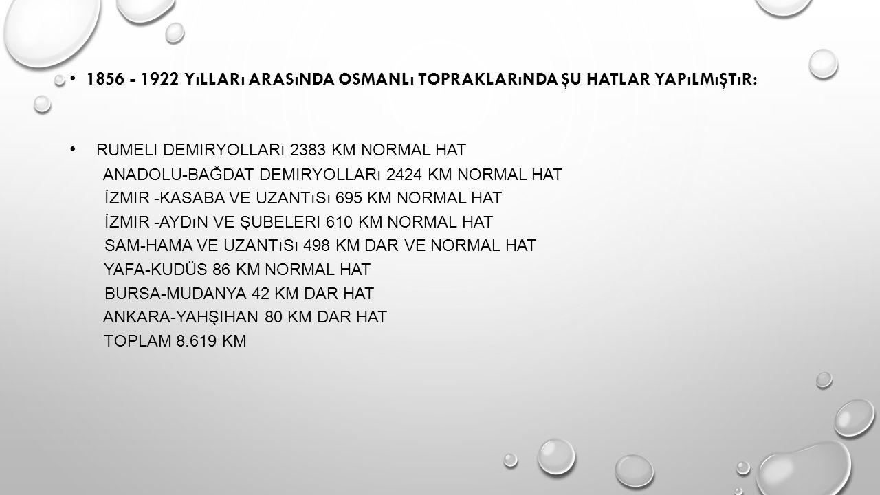 1856 - 1922 yılları arasında Osmanlı Topraklarında şu hatlar yapılmıştır: