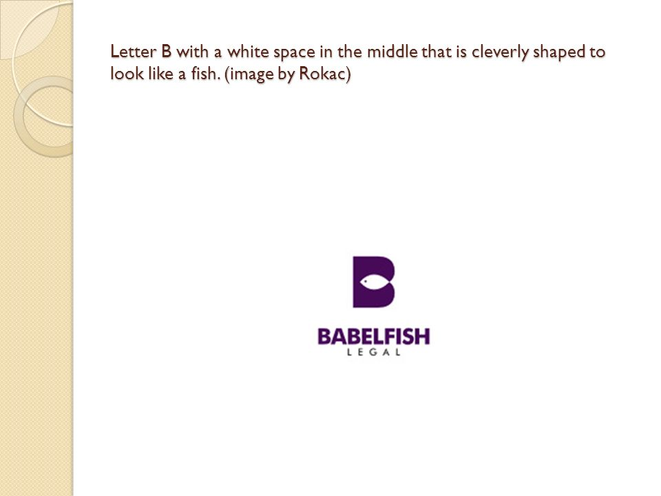 Letter B with a white space in the middle that is cleverly shaped to look like a fish.