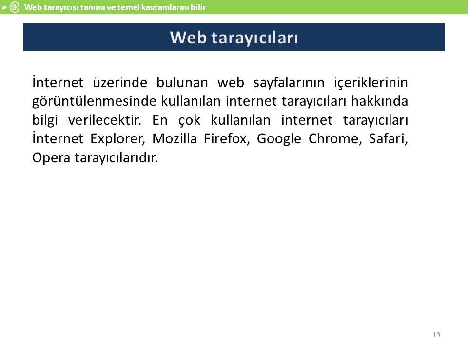 Web tarayıcısı tanımı ve temel kavramlarını bilir