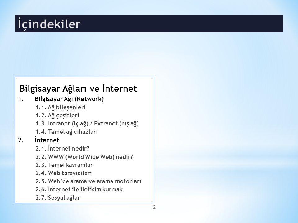 İçindekiler Bilgisayar Ağları ve İnternet Bilgisayar Ağı (Network)