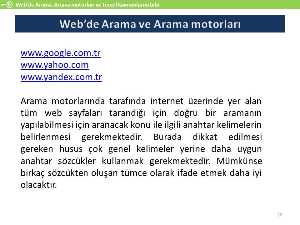 Web'de Arama ve Arama motorları