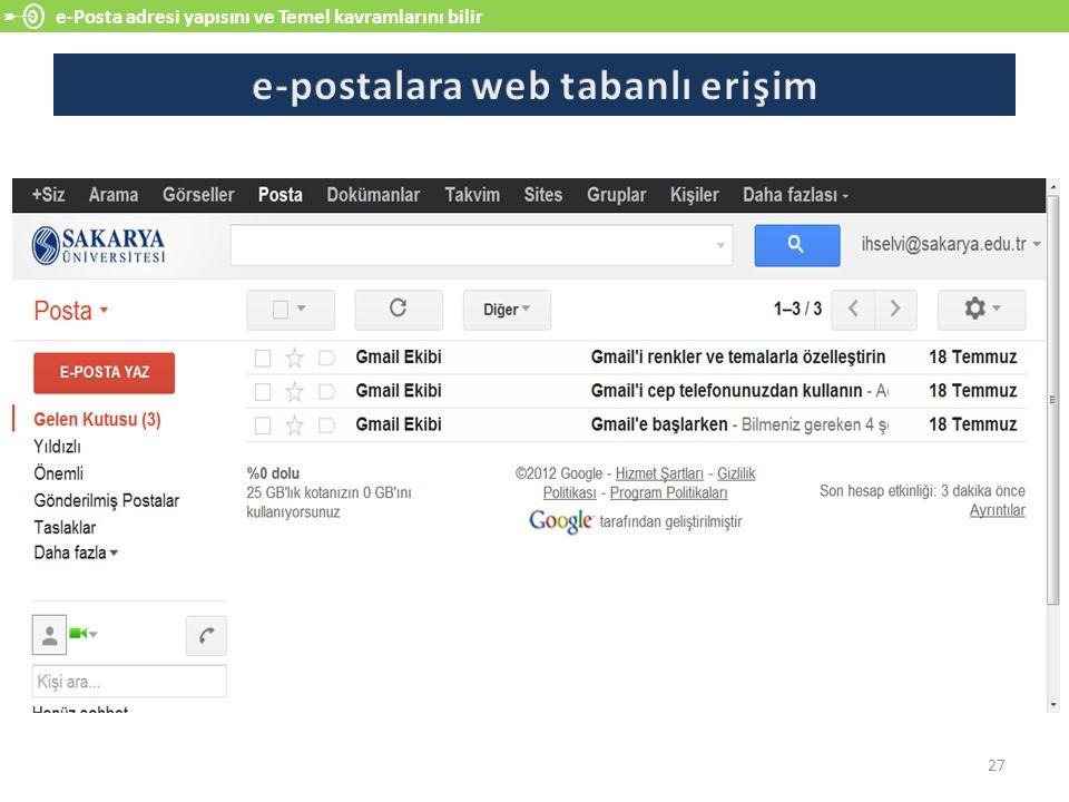 e-postalara web tabanlı erişim