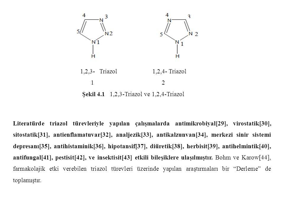 Şekil 4.1 1,2,3-Triazol ve 1,2,4-Triazol