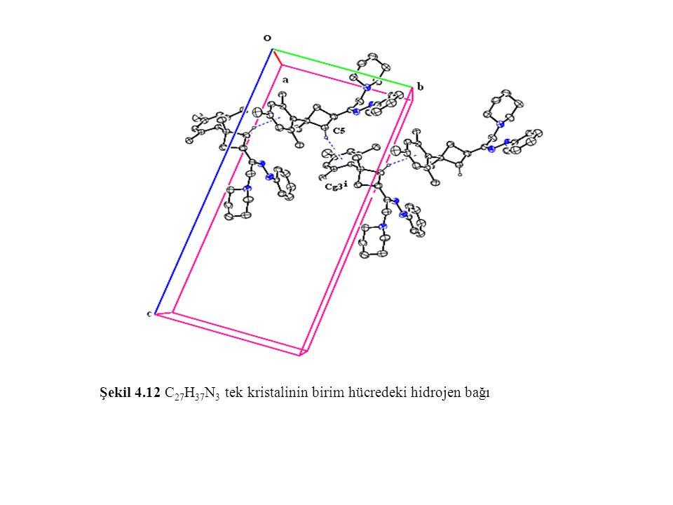 Şekil 4.12 C27H37N3 tek kristalinin birim hücredeki hidrojen bağı