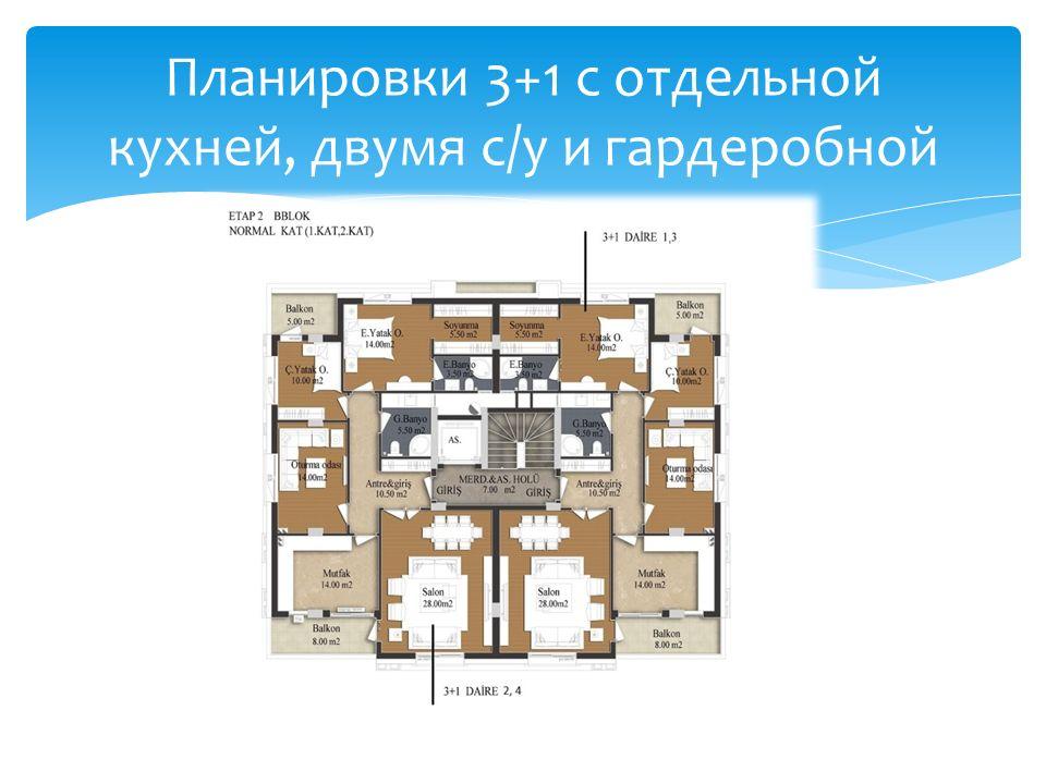 Планировки 3+1 с отдельной кухней, двумя с/у и гардеробной