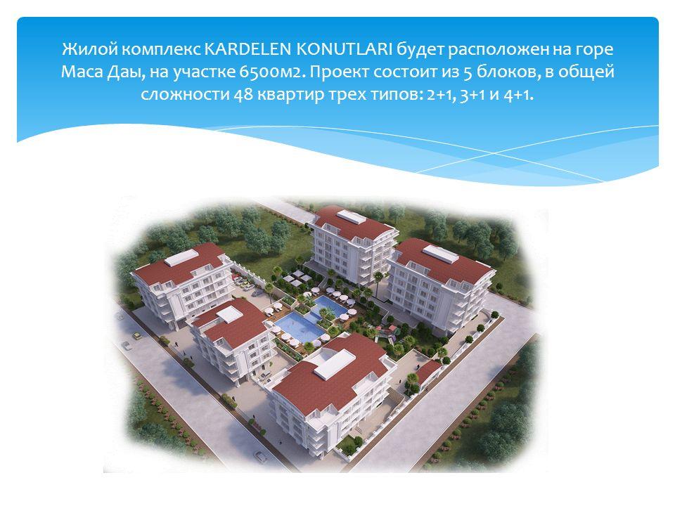 Жилой комплекс KARDELEN KONUTLARI будет расположен на горе Маса Даы, на участке 6500м2.