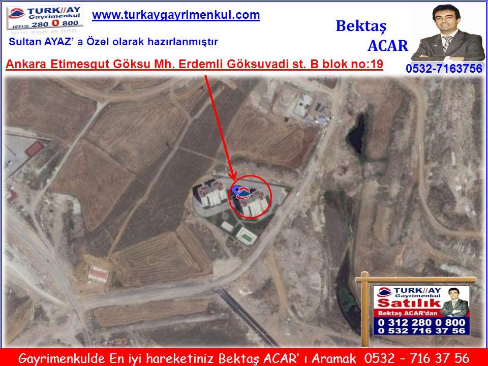 www.turkaygayrimenkul.com Bektaş. ACAR. Sultan AYAZ' a Özel olarak hazırlanmıştır. Ankara Etimesgut Göksu Mh. Erdemli Göksuvadi st. B blok no:19.