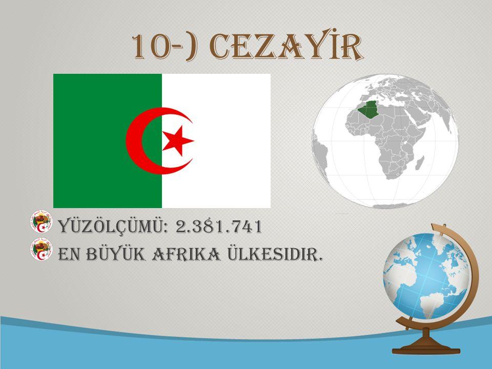 10-) CEZAYİR YÜZÖLÇÜMÜ: 2.381.741 En büyük Afrika ülkesidir.