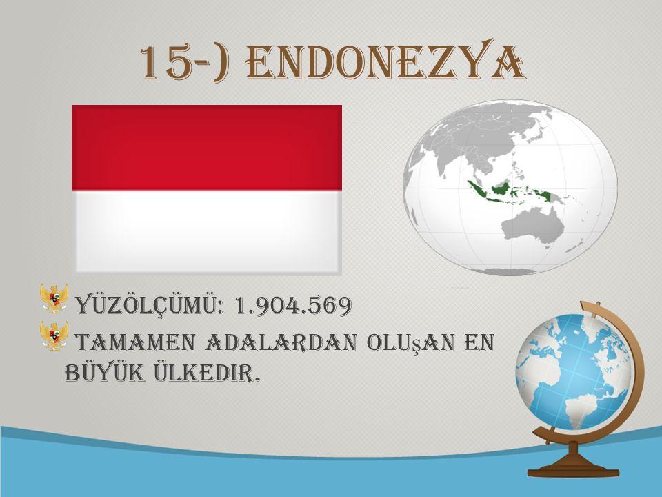 15-) Endonezya Yüzölçümü: 1.904.569