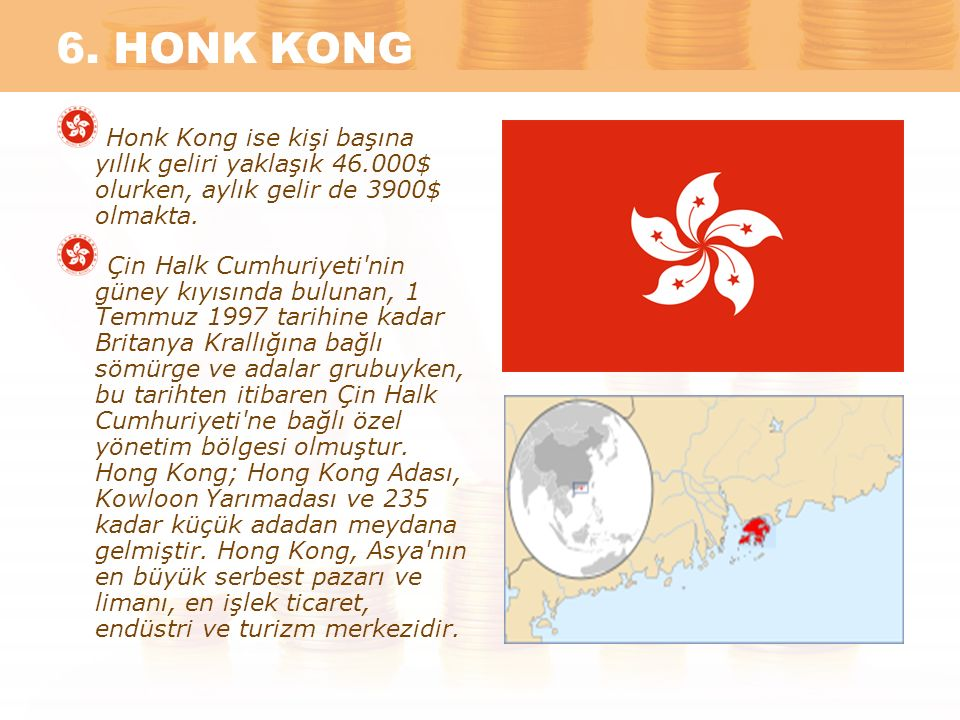 6. HONK KONG Honk Kong ise kişi başına yıllık geliri yaklaşık 46.000$ olurken, aylık gelir de 3900$ olmakta.