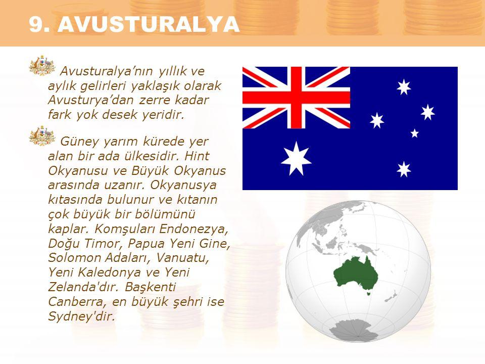 9. AVUSTURALYA Avusturalya'nın yıllık ve aylık gelirleri yaklaşık olarak Avusturya'dan zerre kadar fark yok desek yeridir.
