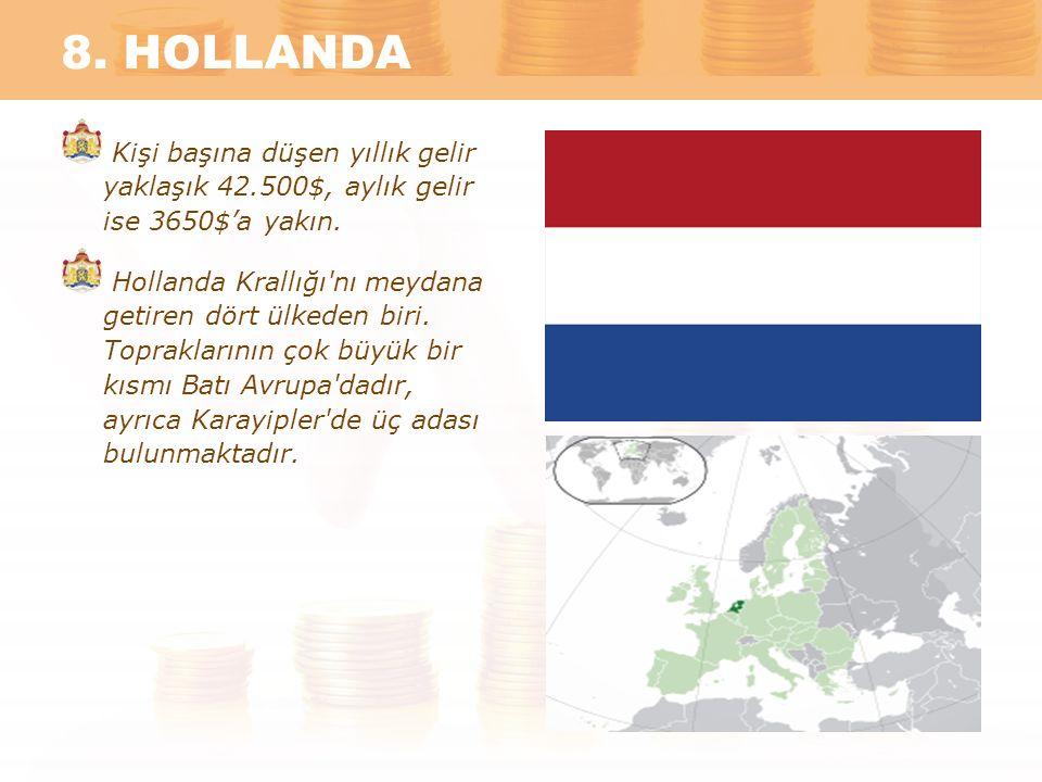 8. HOLLANDA Kişi başına düşen yıllık gelir yaklaşık 42.500$, aylık gelir ise 3650$'a yakın.
