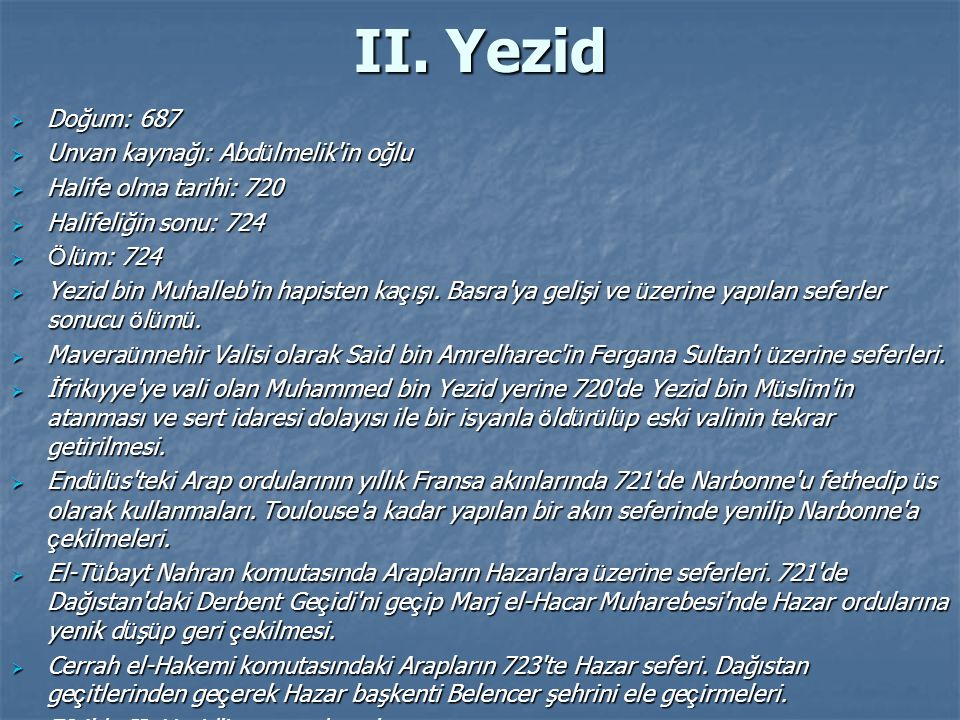 II. Yezid Doğum: 687 Unvan kaynağı: Abdülmelik in oğlu