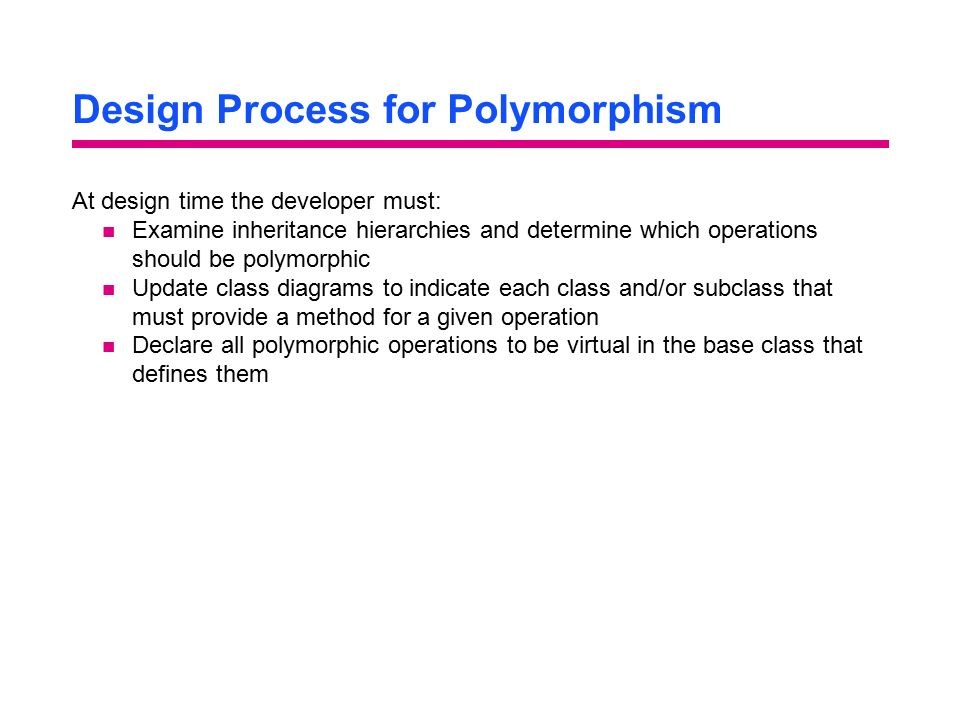 Design Process for Polymorphism