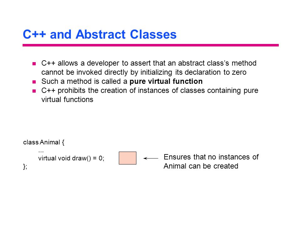 C++ and Abstract Classes
