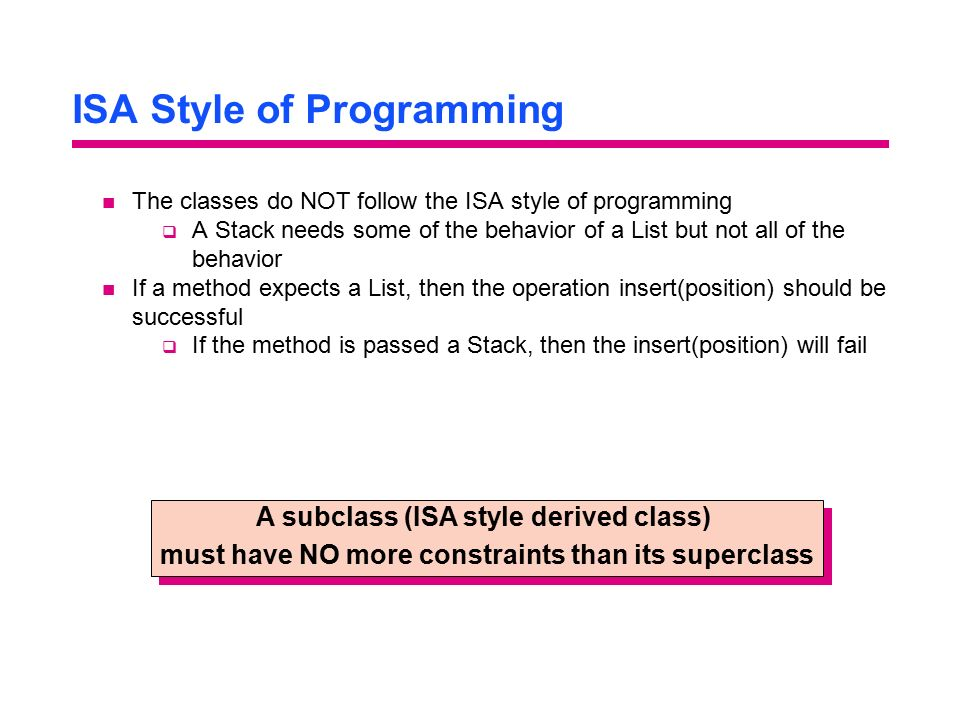 ISA Style of Programming
